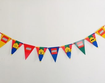 Lego Party Bunting Banner. Party Supplies Hanging Decorations Legoman Man