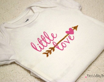 Custom Personalized Pink Little Love And Glitter Gold Onsie Bodysuit
