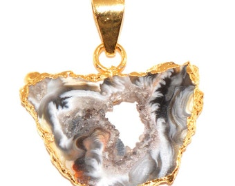 natural agate geode slice pendant