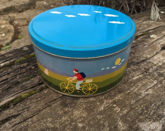 BICYCLE TIN Cycling Savings, Storage Box BRIGHT and Sunny with puffy clouds Children or cycling enthusiasts