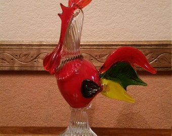 Striking Vintage Murano Glass Rooster