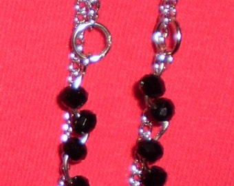 Owl chain earrings with black glass beads