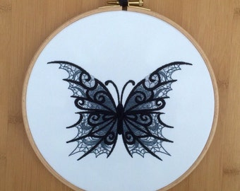 Lace butterfly - embroidered hoop art - black grey on white tattoo style gothic emo fantasy dark entomology embroidery lacy personalised