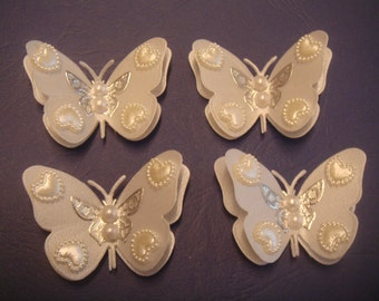 4 lovely pearl heart set 3d vellum butterflies weddings crafts