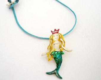 Mermaid Necklace Sterling Mermaid Charm Blue Enamel Mermaid Pendant Girls Gift  Miniature People Sea Jewelry by  Dialecti Paslidou