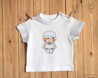 baby t-shirt / t-shirt baby blonde boy / digital print