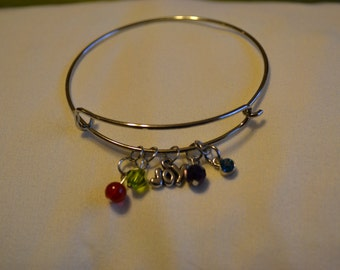 Wire bracelet with Charms
