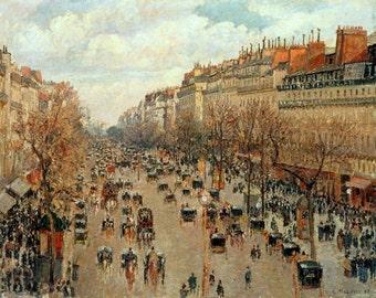 camille pissarro print, boulevard montmartre print. eremitage paris print, neo-impressionist painters print