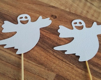 Halloween Cupcake toppers, 12 Ghost cupcake toppers, Halloween Party, Halloween Decoration, Scary Cupcake toppers