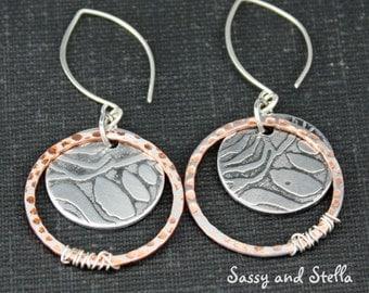 Boho dangle earrings, etched aluminum