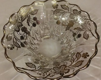 "Vintage 1930s Sterling Silver Overlay 10 1/2"" Footed Serving Bowl"