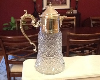 Glass and Silver Decanter or Carafe