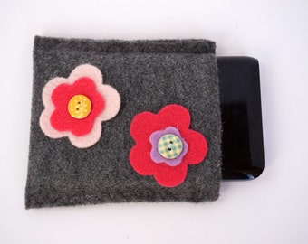 READY to SHIP= Flower and Felt portable Hard disk / Hard drive case, hard drive cover, HD sleeve