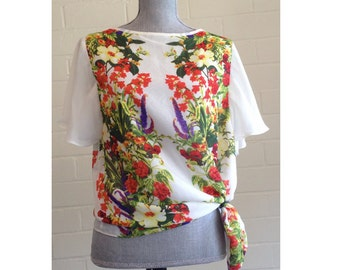 Vintage floral silk blouse with butterfly sleeves / wild flowers print silk tee shirt / colorful summer short sleeve blouse