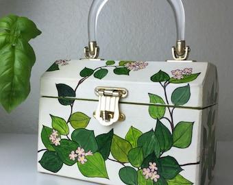 70's Rose Twisted Stalk Handpainted Wood Handbag