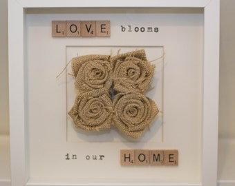 Love blooms in our home white box frame with hessian roses