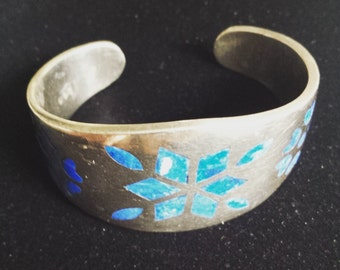 Sterling Silver .925 Cuff Bracelet Bangle With Lapis Lazuli Inlay