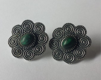 Vintage Sterling Silver .925 Earrings With Malachite