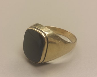 Vintage 10K Yellow Gold Men's Signet Ring With Blue Stone