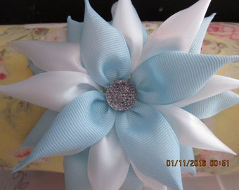 Light Blue and White Kanzashi Flowered Headband with Pearls! Girls! Ladies!