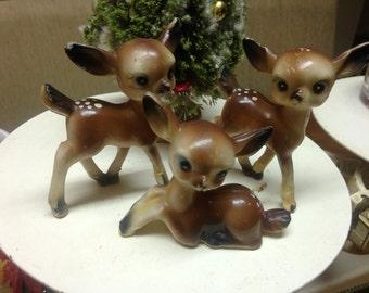 3 vintage Deer