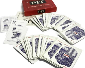 Vintage PIT Game | Old 1919 Parker Brothers Card Game | Bull and Bear Edition Pit Card Game Complete in Original Box  | Great Party Game
