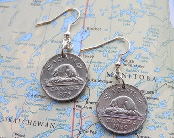 Canadian 5 cent Bever coin earrings - made of coins from Canada
