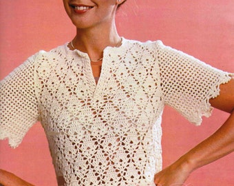 Ladies Crochet Sweater ... Crochet Lacy Top ... Ladies  Sweater PDF ... Spring, Autumn, Summer Top ... Digital Download