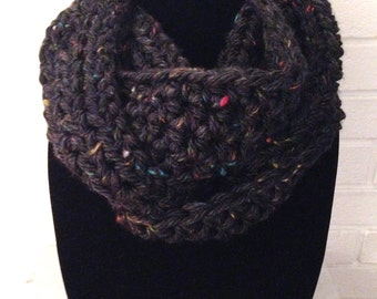 Chunky Infinity Scarf, Black, Tweed Cowl Knit Crochet