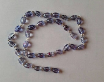 "Purple Splash Glass Beads in Silver Chain..7mm..21"""