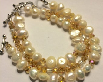 Crystal and Pearl Bracelet set