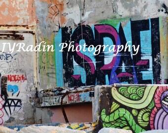 Colorful Israel Graffiti Art in Tel Aviv Photo - wall decor / bar mitzvah gift/ synagogue decor