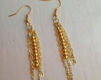 Chain and Bead Dangle Earrings