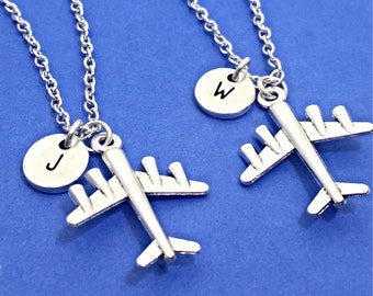 925 Sterling Silver,Best friend necklace-set of 2,airplane necklace,airplane pendant,personalized,initial,custom,friendship jewelry,gift bff