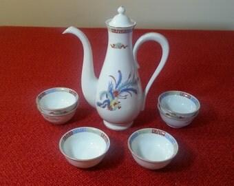 Vintage Tea Service Set Sango China Gold Plated Floral 8 Piece Set Kitchen Decor