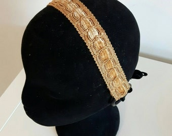 Headband base in golden velvet for tribal fusion bellydance or ATS, 3 cm wide