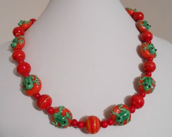 Glass Beaded Frog Necklace