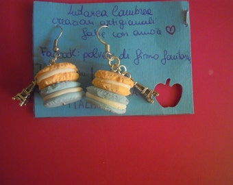 eiffel tower pendant earrings with macarons