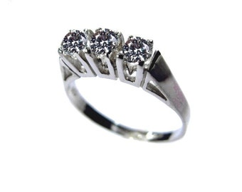 Solitaire ring Silver 925 cubic zirconia Alianzring 3 stones about 4m silver jewelry