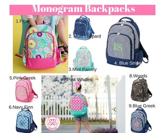Monogram Backpacks/ Personalized Kids backpacks/ Monogram napsack/ Monogram girls backpack/mongram boys backpack/kids bookbag, summer camp