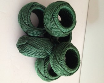 Green Woven Cord Braid Weave Napkin Rings; Set of 6