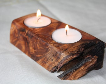 Double tea light holder - reclaimed pine