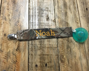 Personalized RealTree Camo Pacifier Clip, Hunting Camo with Baby Name Pacifier Holder