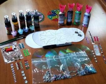 7 Stained Glass Mandala Kit Easter Craft Garden Decor  Mandala Suncatcher Family Crafts Yoga Craft Easy Kids Craft Teen and Adult Craft Kit