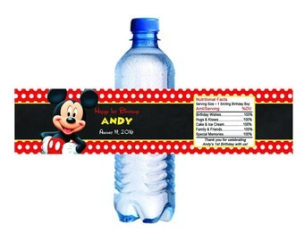 Mickey Mouse Water Bottle Labels Printable Digital DIY