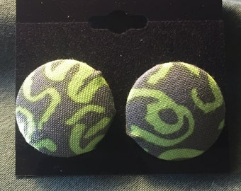 Fabric Button Earring