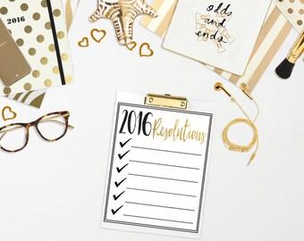 2016 Resolution/Goal Printable