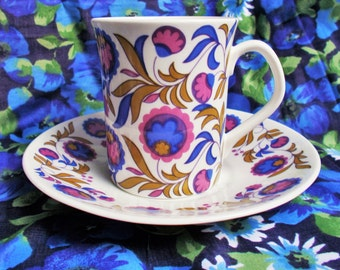 Retro Coffee Cup and Saucer - Fleur Bleue - Elizabethan Ware (Taylor & Kent) - 1970's - Used