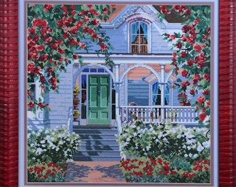 Cross-stitch Cottage Red Rose Red Rose Cottage Countryside
