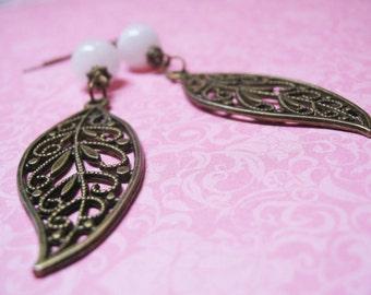 Rainbow Moonstone Earrings-Vintage Earrings-Dangle Earrings-Charm Earrings-Beaded Earrings-Gemstone Earrings-Bronze Charm-Romantic Earrings
